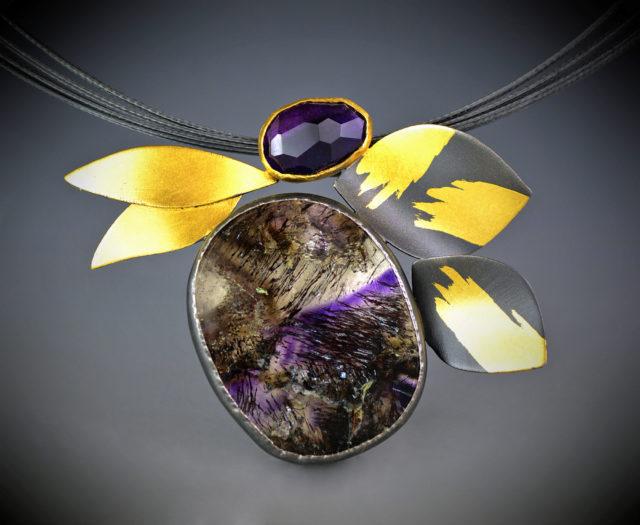 Amethyst Leaves Necklace - OAK adj.copy