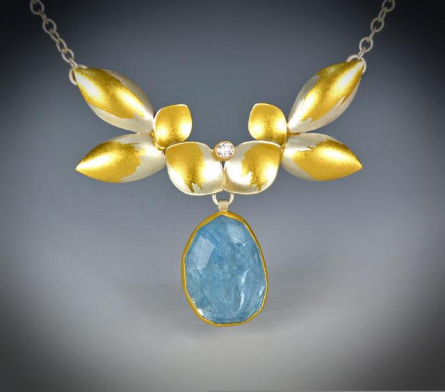 9-17 Aqua Daffodil Necklace copy