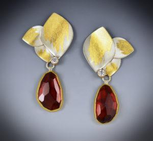 9-17 Triple Leaf Garnet Earrings